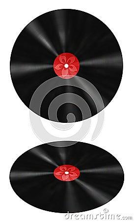 Record di vinile con il contrassegno rosso