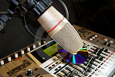 Recording studio with microphone