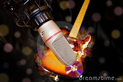 recording studio microphone over electric guitar royalty free stock images image 8041339. Black Bedroom Furniture Sets. Home Design Ideas
