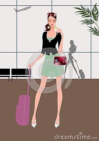 Recorrido hermoso de la chica joven (mujer) con equipaje