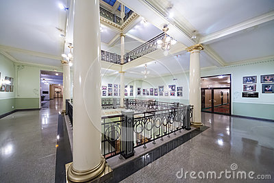 Recreation area with column and paintings Editorial Photography