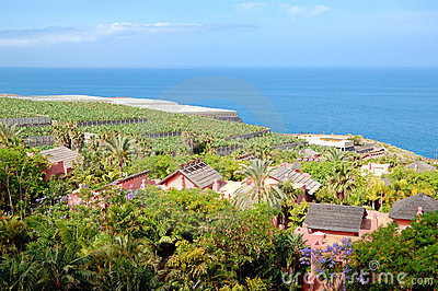 Recreation area with villas of luxury hotel