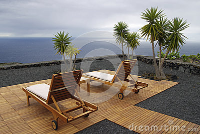 Recreational chair with ocean view