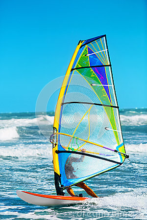 Free Recreational Extreme Water Sports. Windsurfing. Surfing Wind Act Stock Photos - 67519383