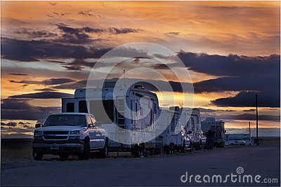 Recreational Vehicles At Sunset