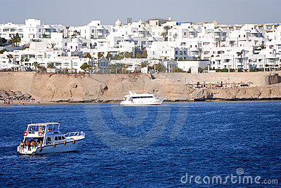 Recreational yachts near Red Sea reef