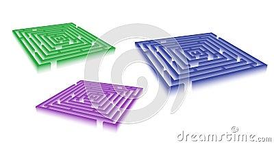 Rectangle blue green violet maze set