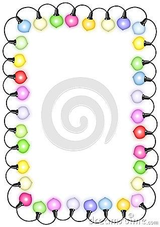 Rectangle christmas card with lights