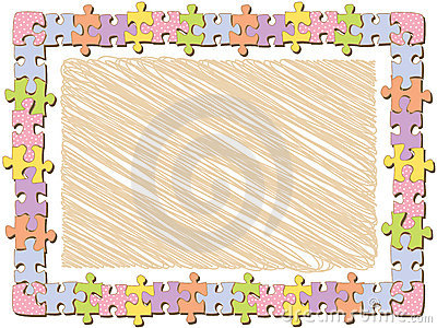 Rectangle jigsaw frame with dots