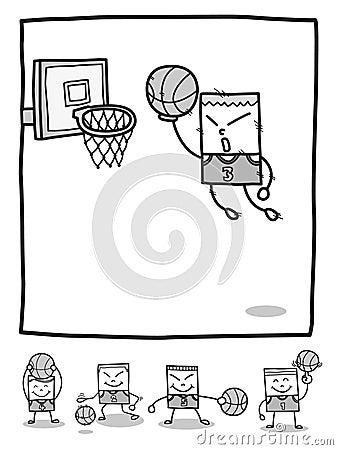 Rectangle man basketball players