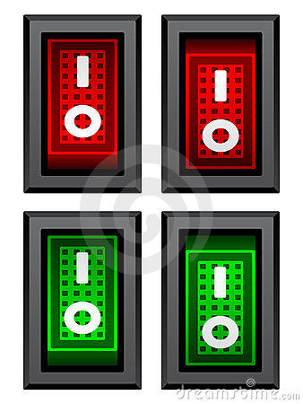Rectangle toggle power switches