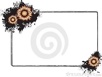 Rectangular Black Grunge Frame with Flowers Vector