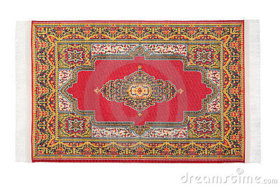 Rectangular carpet horizontally lies on white