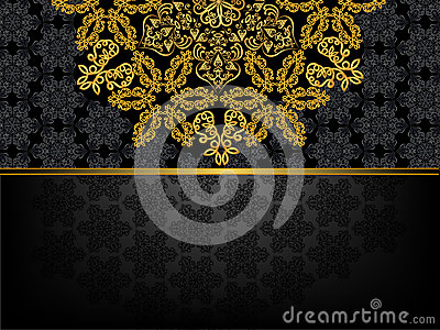 Rectangular frame with  pattern and a golden flowe