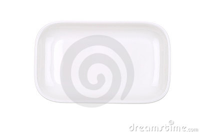 The rectangular white dish on white