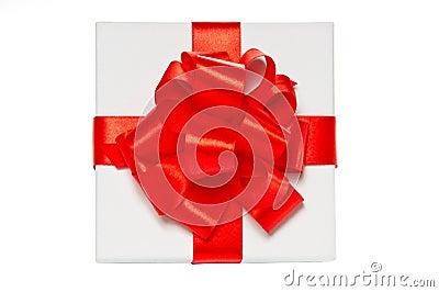 Rectángulo de regalo blanco del cartón. Visión superior.