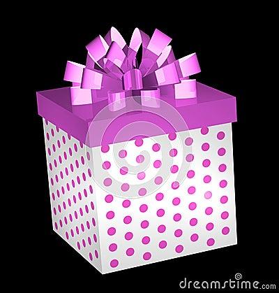 Rectángulo de regalo del color de rosa caliente con el arqueamiento