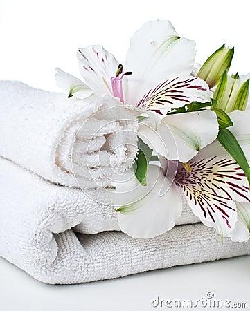 Recursos para el balneario, la toalla blanca y la flor