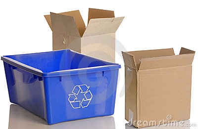Recycle bin and cardboard boxes