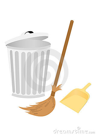 Recycle bin with dustpan and broom