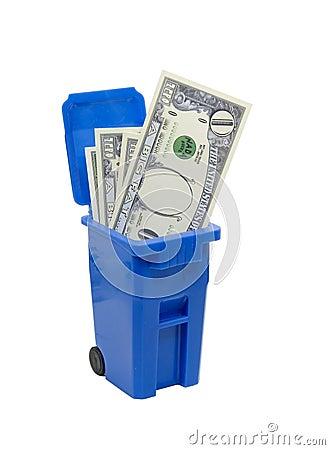 Recycle bin full of no money