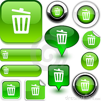 Recycle bin green signs.