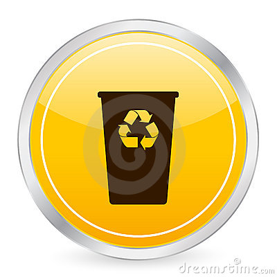 Recycle bin yellow circle icon