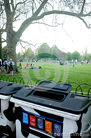 Recycle bins in the park Editorial Image