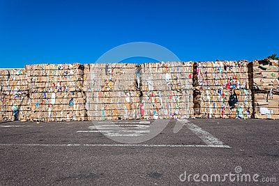 Recycle Cardboard Waste Stacks  Editorial Image