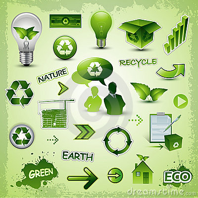 Free Recycle Environment Icons Collection Stock Photo - 15551220