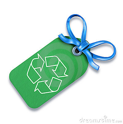 Recycle! green gift price tag blank with bow