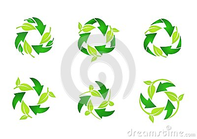 Recycle logo, circle, natural, green, leaves, ecology, leaf, recycling set of round symbol icon vector design Vector Illustration