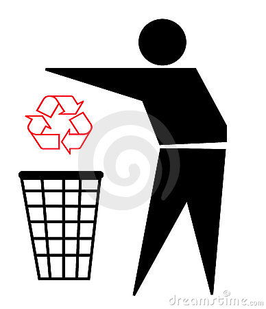 Recycle logo and trash