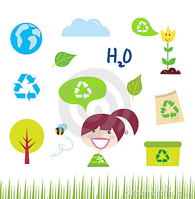 Recycle, nature and ecology icons on white