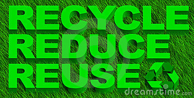 Recycle reduce reuse words over green grass