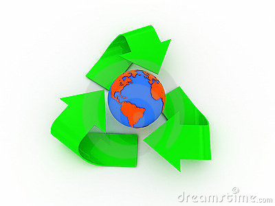 Recycle sign and earth