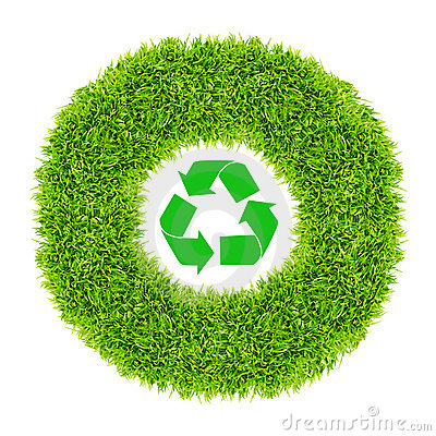 Free Recycle Sign In Green Grass Circle Royalty Free Stock Photography - 19428327