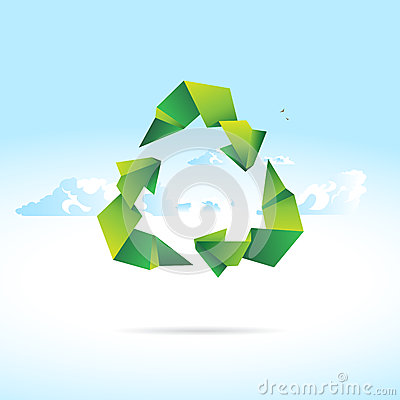 Recycle sign of paper - origami
