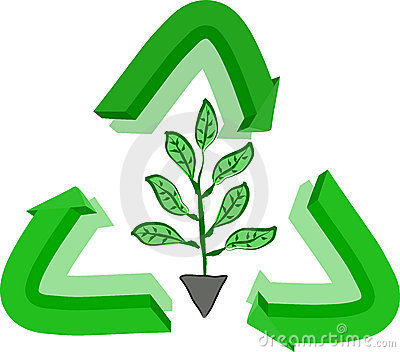 Recycle sign and plant