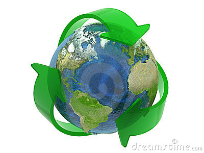 Recycle Symbol Around the Earth