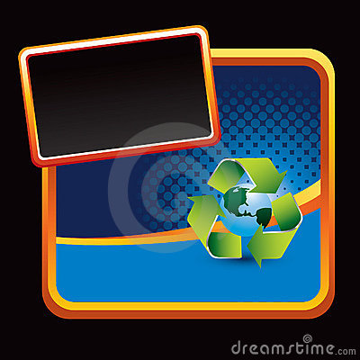 Recycle symbol around earth on blue stylized ad