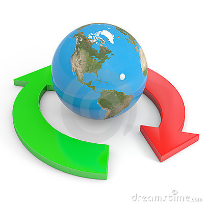 Recycle symbol around earth. Global economy.