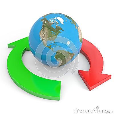 Recycle symbol around earth. Global economy.