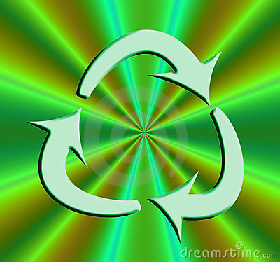 Recycle symbol on bright Green
