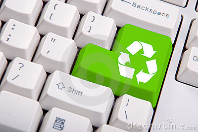 Recycle symbol on the computer keyboard