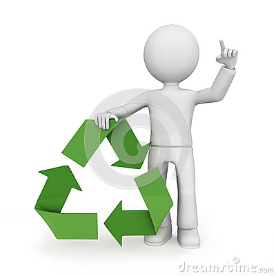 Recycle symbol with figure