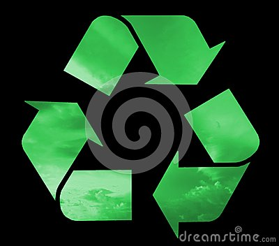 Recycle symbol filled green clouds