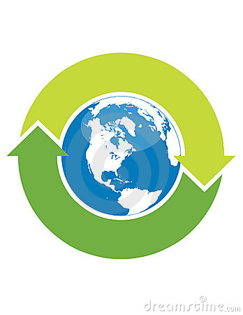 Recycle symbol and globe