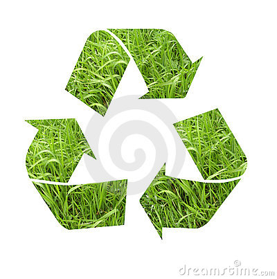 Recycle symbol with grass