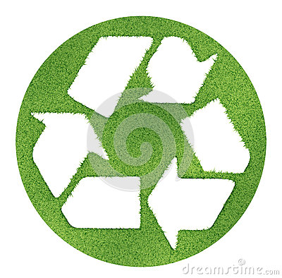Recycle symbol made on grass outlines